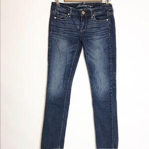 American eagle size 0 skinny short dark wash jeans